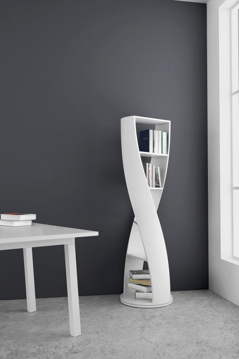 Grey Wood Bookcase and Storage System Mini MYDNA Collection by Joel Escalona For Sale 1