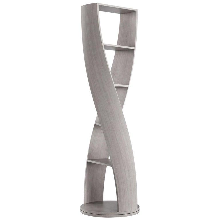 Grey Wood Bookcase and Storage System Mini MYDNA Collection by Joel Escalona For Sale