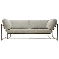 Grey Wool and Blackened Steel Two-Seat Sofa