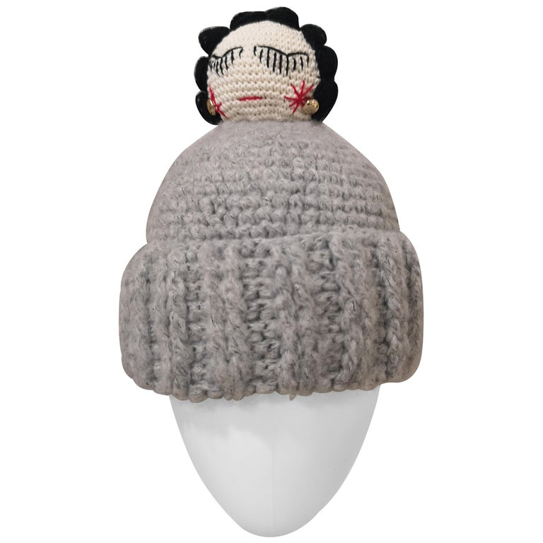 Grey wool Coco doll hat For Sale