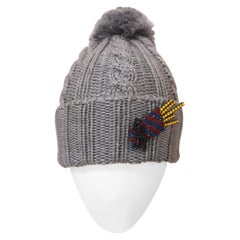Grey wool fresh fries brooch hat