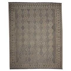 Grey Wool Kilim Rug Handmade Traditional Geometric Kilims Area Rug
