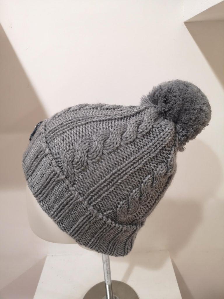 Gray Grey wool mouth teeth swarovski brooch hat For Sale