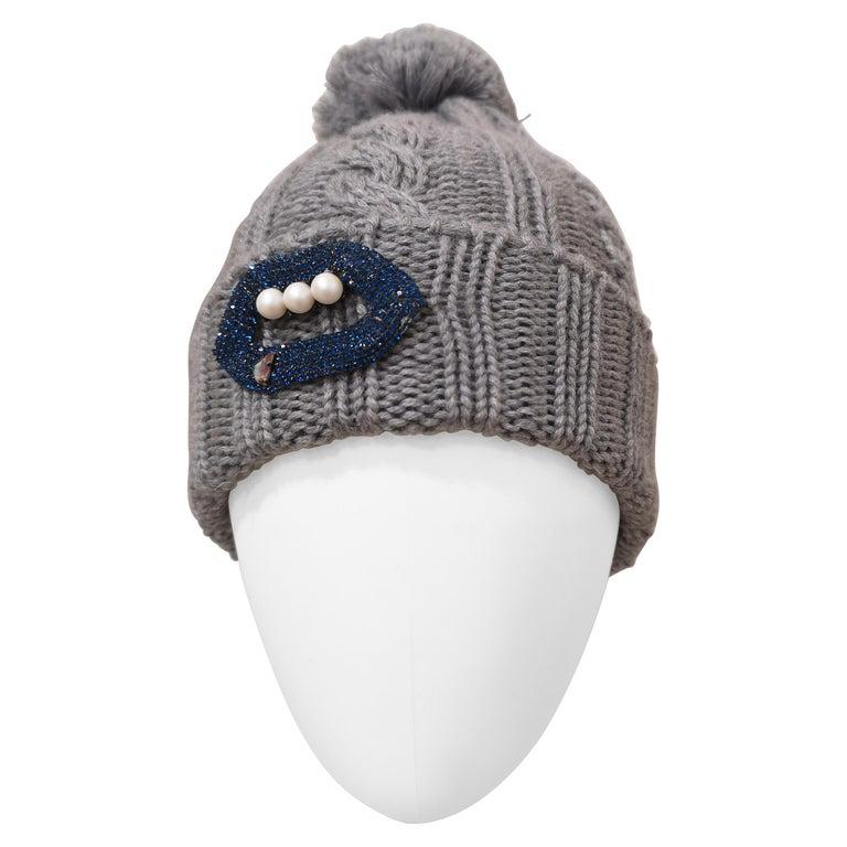 Grey wool mouth teeth swarovski brooch hat For Sale
