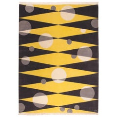 Morning Sun - Grey Yellow Wool Rug with Geometric and Circle Shape by Carpets CC