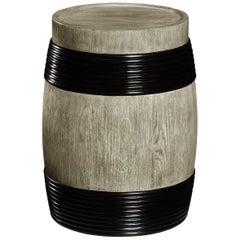Greyed Oak Barrel Side Table