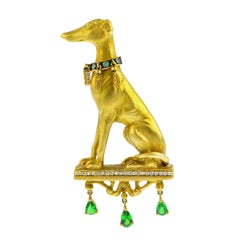 18K Gold Greyhound Diamond and Tsavorite Garnet Brooch