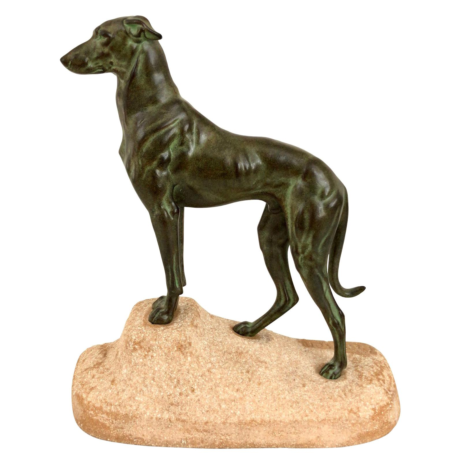 Greyhound Dog Sculpture Sloughi by Jules Edmond Masson for Max Le Verrier