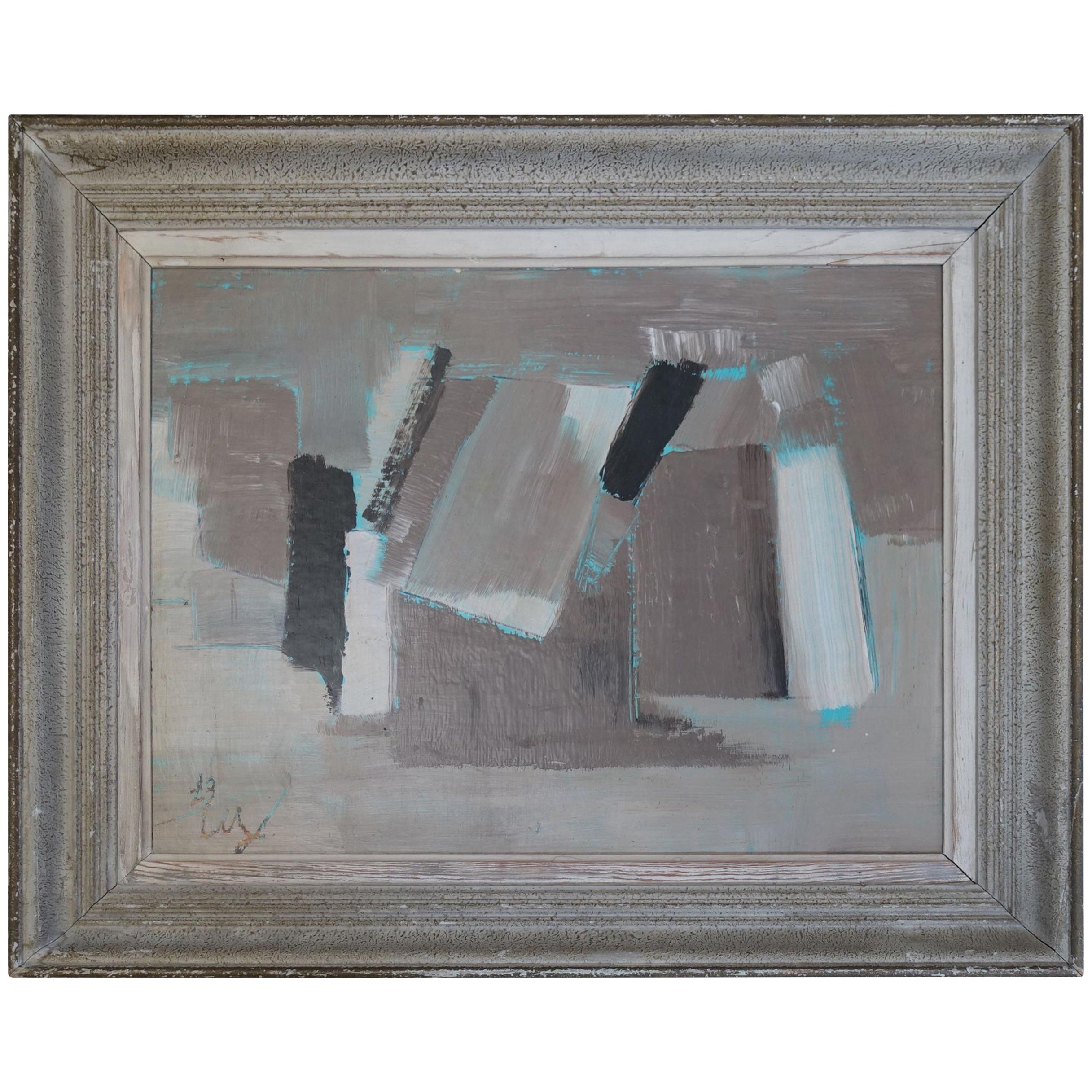 Greys, Black, Taupe, White French Abstract Oil Painting, France, Midcentury