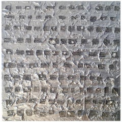 Grid 1 by Liora Textured Square Abstract Silver Canvas Contemporary Painting