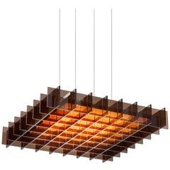 Grid 1:1 LED Pendant Light with Bronze Slats by Pablo Designs