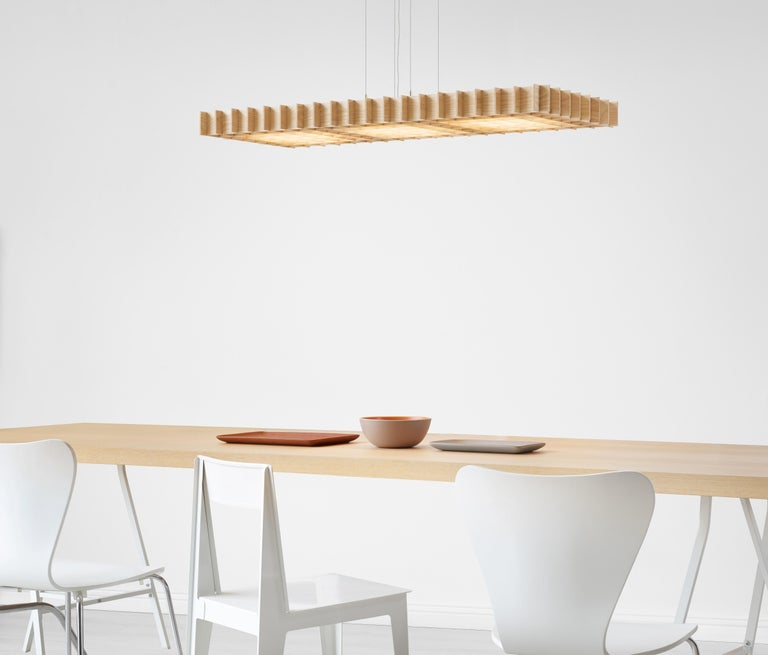 Modern Grid 1:1 Pendant Light in Ash by Pablo Designs For Sale