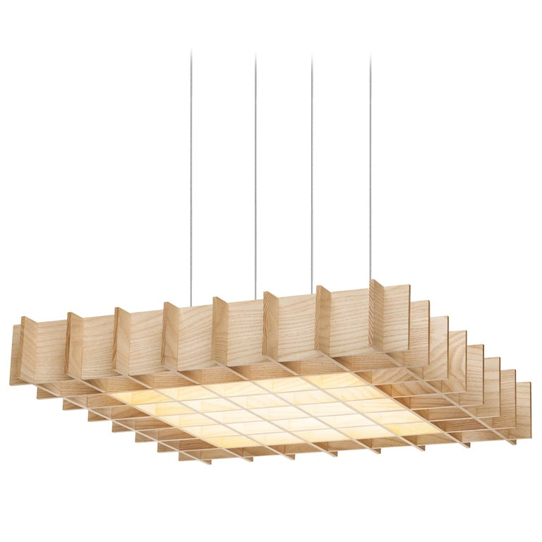 Grid 1:1 Pendant Light in Ash by Pablo Designs For Sale