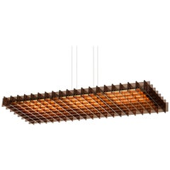 Grid 1:3 LED Pendant Light with Bronze Slats by Pablo Designs