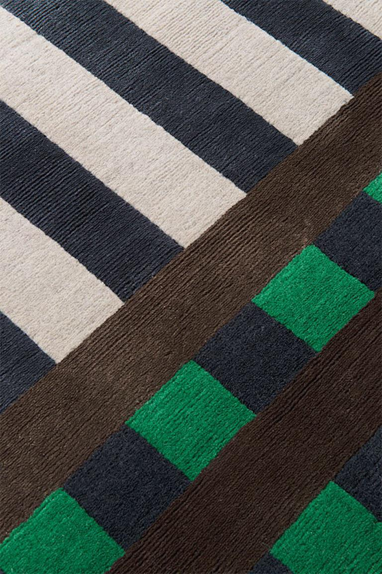 Nepalese Grid Construct Hand-Knotted 10x8 Rug in Wool and Silk by Christopher Kane For Sale