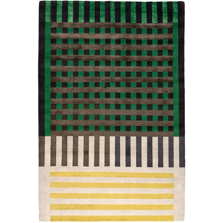 Grid Construct Hand-Knotted 10x8 Rug in Wool and Silk by Christopher Kane For Sale