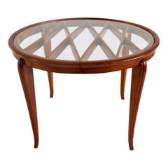 Grid Pattern Walnut Coffee Table Style Gio Ponti, 1940