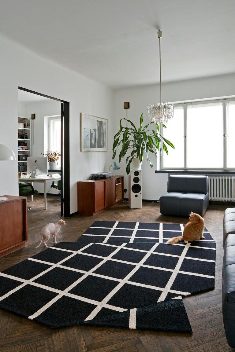 Modern Grid Rug Wool Silk Black White Johanna Ulfsak Contemporary Design, Nepal, 2021 For Sale