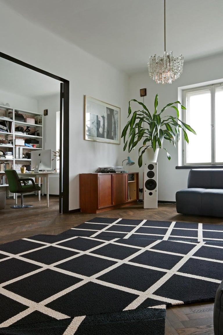 Nepalese Grid Rug Wool Silk Black White Johanna Ulfsak Contemporary Design, Nepal, 2021 For Sale
