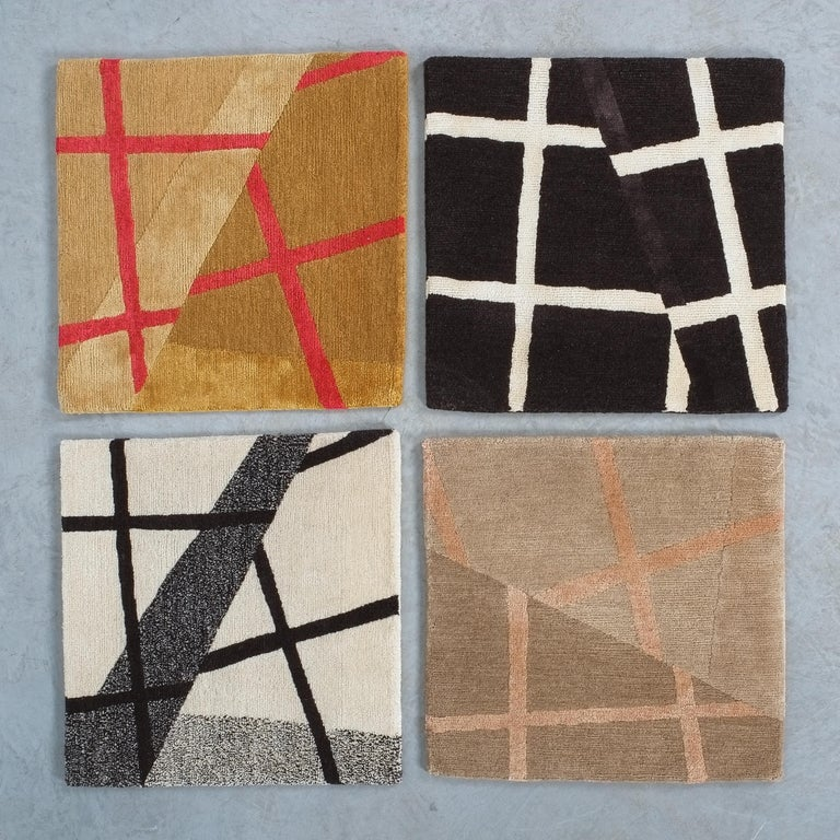 Grid Rug Wool Silk Black White Johanna Ulfsak Contemporary Design, Nepal, 2021 In New Condition For Sale In Vienna, AT