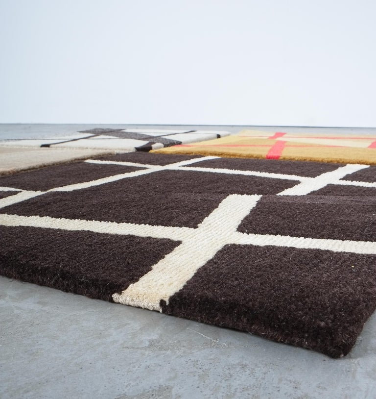 Grid Rug Wool Silk Black White Johanna Ulfsak Contemporary Design, Nepal, 2021 For Sale 1