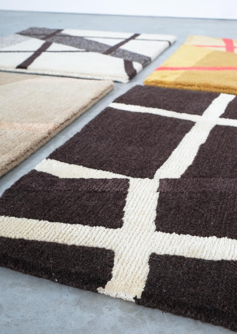 Grid Rug Wool Silk Black White Johanna Ulfsak Contemporary Design, Nepal, 2021 For Sale 2