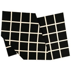 Grid Rug Wool Silk Black White Johanna Ulfsak Contemporary Design, Nepal, 2021
