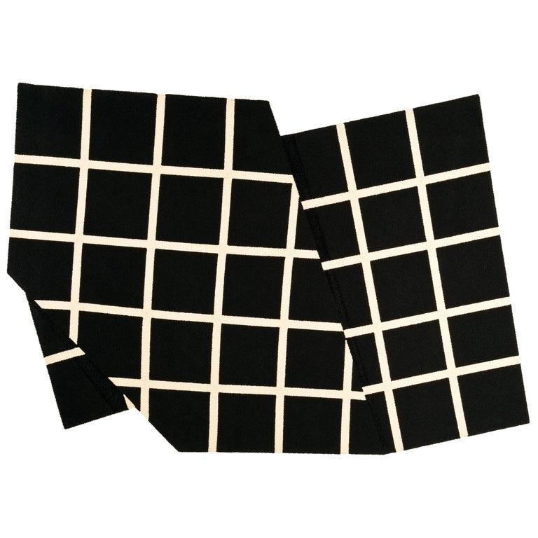 Grid Rug Wool Silk Black White Johanna Ulfsak Contemporary Design, Nepal, 2021 For Sale