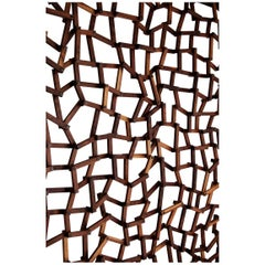 Grid Wall Wooden Lattice Room Divider in Walnut