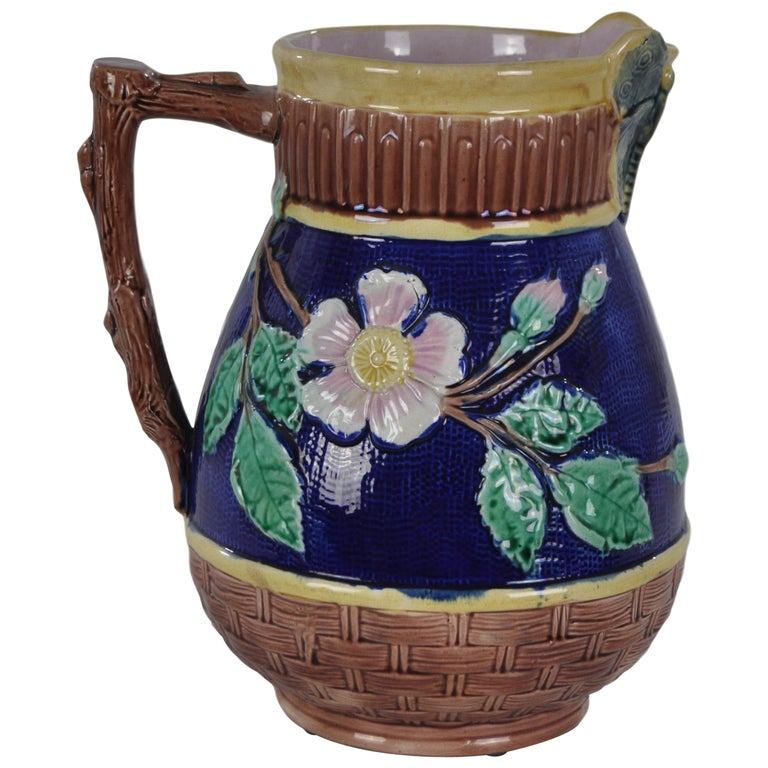 Griffen Smith & Hill Etruscan Majolica Butterfly Spout Pitcher For Sale