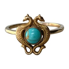 Griffin Dragon Seahorse Persian Turquoise Ring Antique Belle Epoque Gold