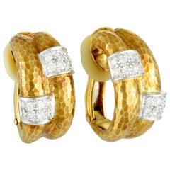 Grima 18 Karat Yellow and White Gold Diamond Hoop Clip-On Earrings