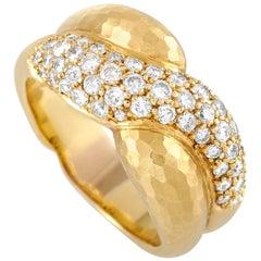 Grima 18 Karat Yellow Gold 1.53 Carat Diamond Hammered Ring