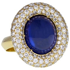 Grima Gold Sugarloaf Cabochon Sapphire Pavé Diamond Cocktail Ring