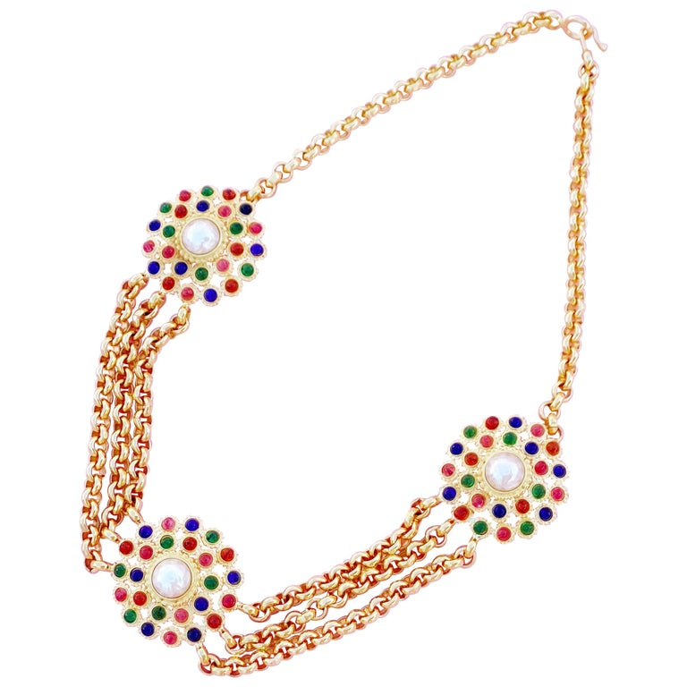 Gripoix Glass Multi Strand Medallion Necklace or Belt By Deanna Hamro, 1980s For Sale