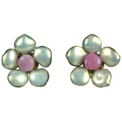 Gripoix Mother of Pearl Lacquer and Pink Glass Earrings