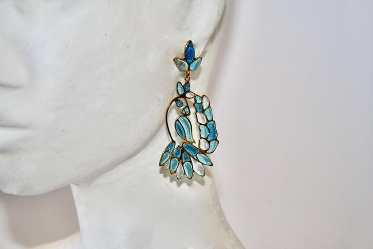Women's Gripoix Paris Blue Hanging Tropical Bird Earrings For Sale