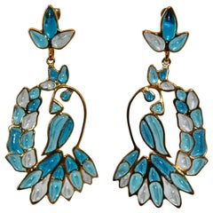 Gripoix Paris Blue Hanging Tropical Bird Earrings