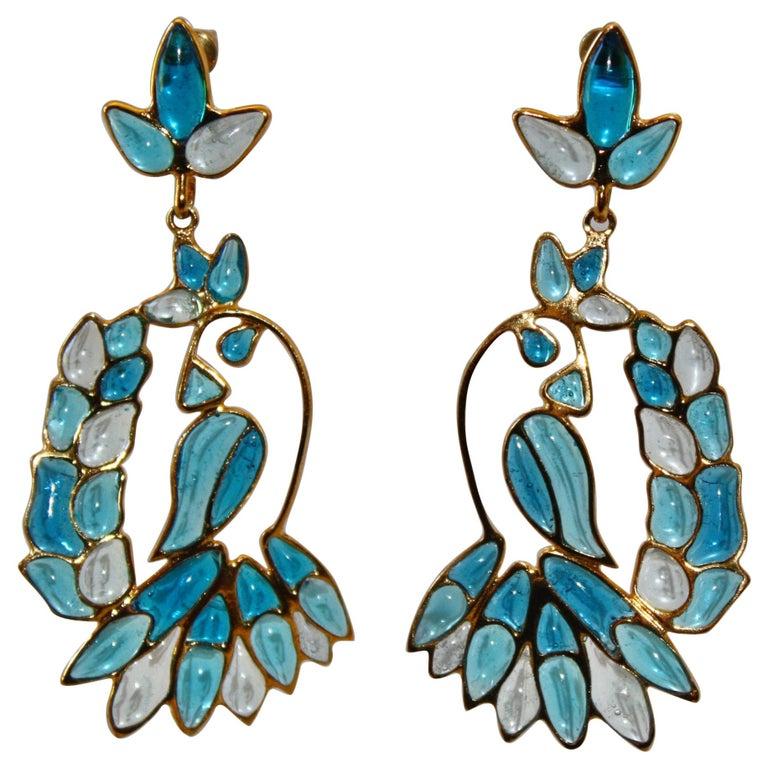 Gripoix Paris Blue Hanging Tropical Bird Earrings For Sale