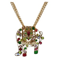 Gripoix Paris Elephant Pendant Necklace