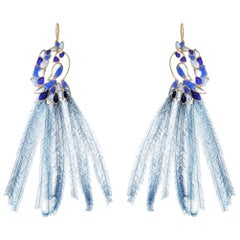 Gripoix Paris Exotic Bird Glass and Feather Earrings