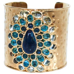 Gripoix Paris Gilded Brass and Poured Glass Cuff