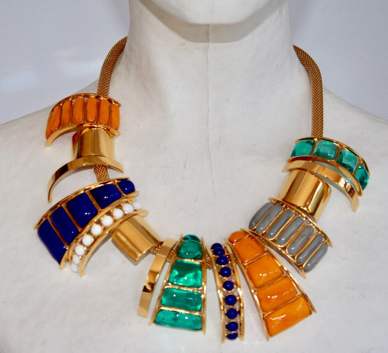 Green, orange, blue, white, and grey multi drop glass necklace from Gripoix Paris.