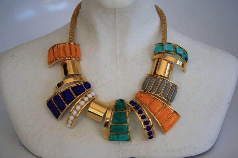 Women's Gripoix Paris Multi Drop Glass Necklace  For Sale