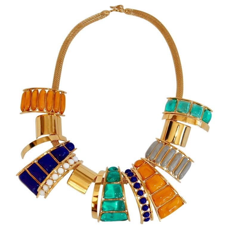 Gripoix Paris Multi Drop Glass Necklace  For Sale