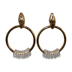 Gripoix Paris Snake Head Gold Ring Earrings with Poured Glass