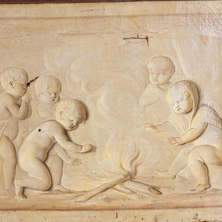 Grisaille, Putti at the Campfire, Follower of Jacob de Wit, probably Netherla In Fair Condition For Sale In Greding, DE