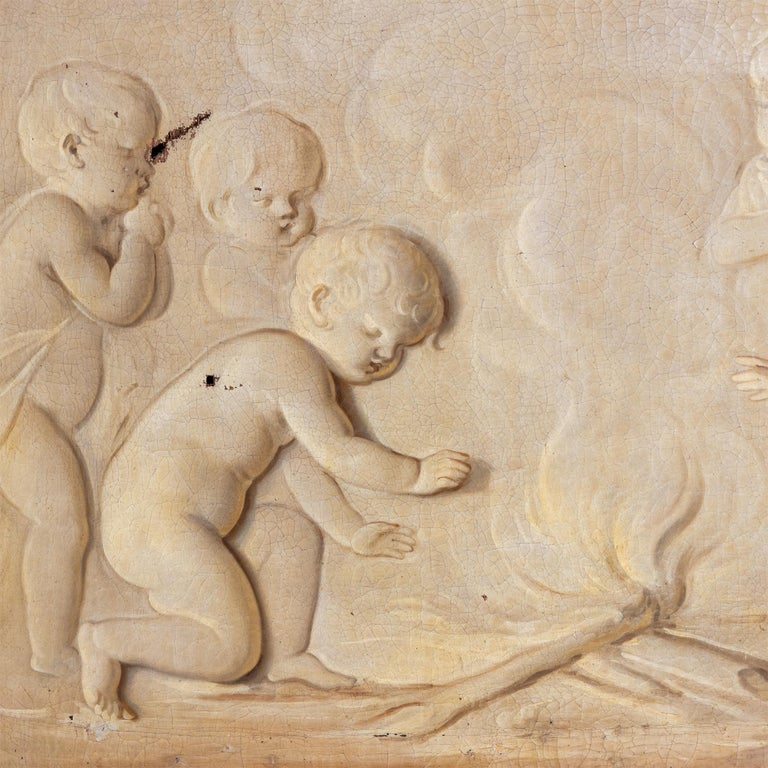 18th Century and Earlier Grisaille, Putti at the Campfire, Follower of Jacob de Wit, probably Netherla For Sale