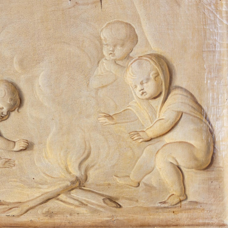 Paint Grisaille, Putti at the Campfire, Follower of Jacob de Wit, probably Netherla For Sale