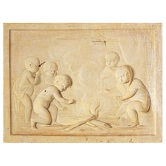 Grisaille, Putti at the Campfire, Follower of Jacob de Wit, probably Netherla